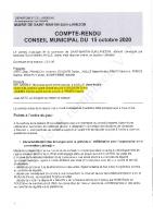 Conseil municipal du 15 octobre 2020