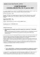 Conseil municipal du 21 janvier 2021
