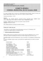 Conseil municipal du 3 octobre 2020