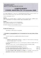 Conseil municipal du 24 septembre 2020